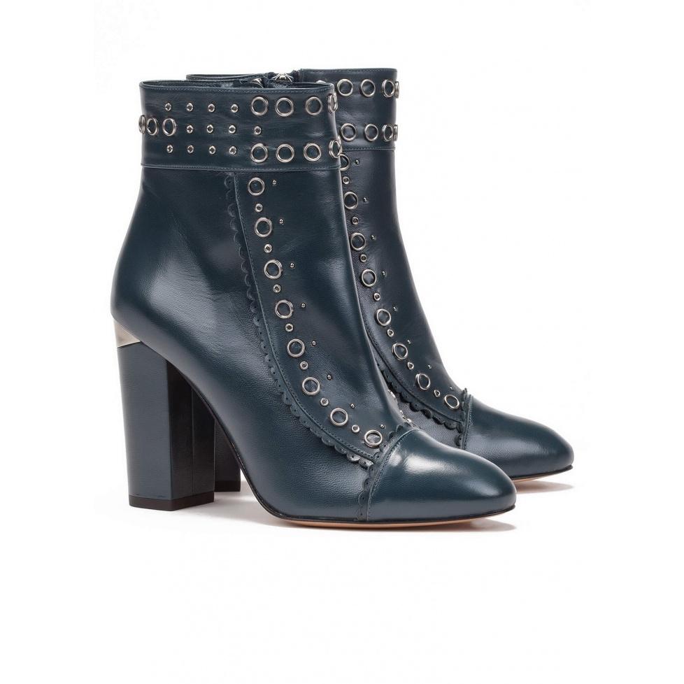 Botines de tacón azules en piel - tienda de zapatos Pura López