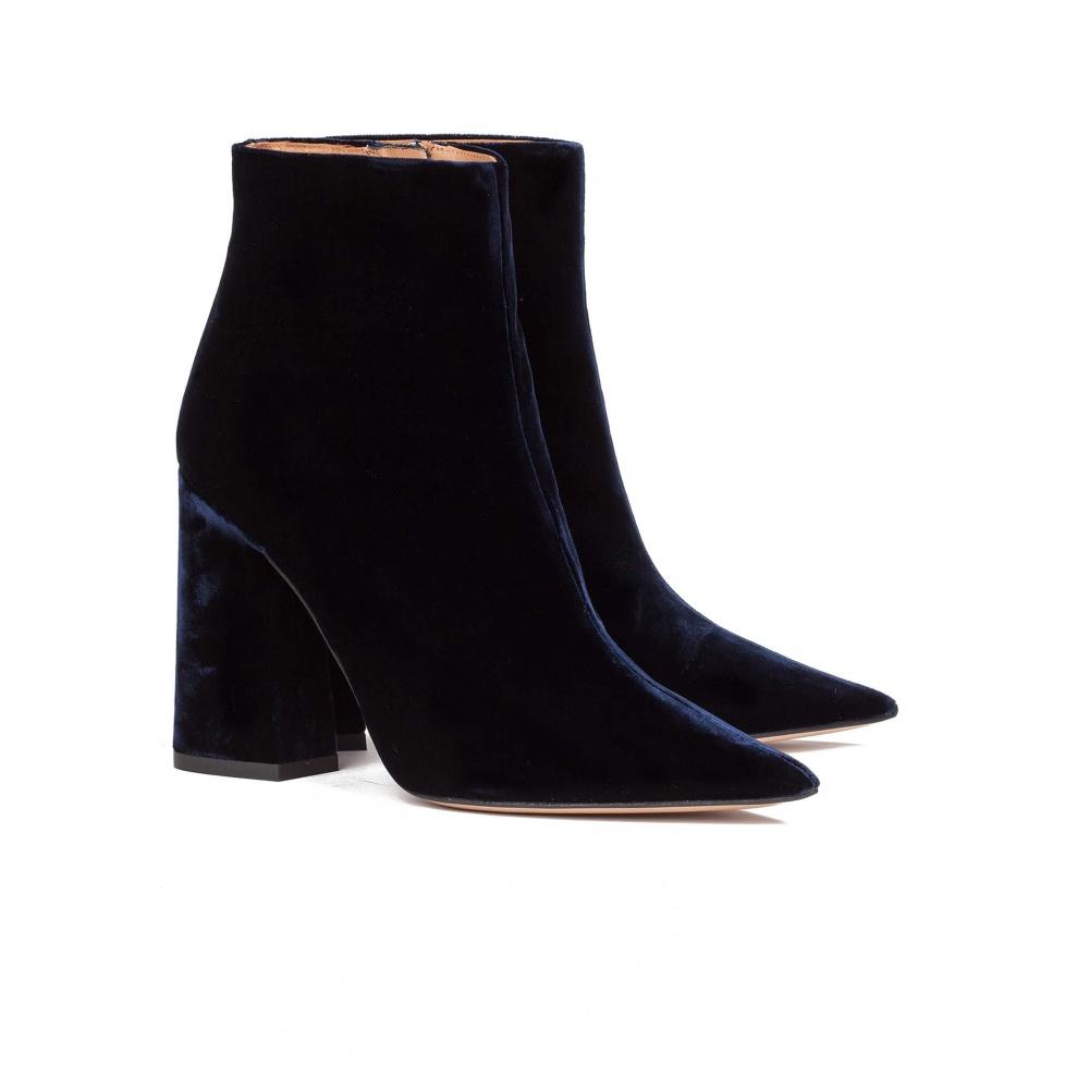 High heel ankle boots in blue velvet - online shoe store Pura Lopez