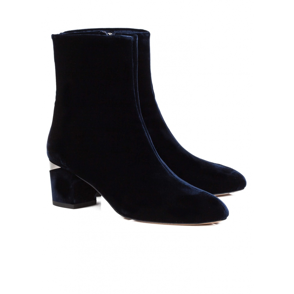 Blue mid heel ankle boots - online shoe store Pura Lopez