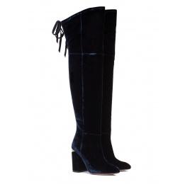 Over-the-knee high block heel boots in night blue velvet Pura López