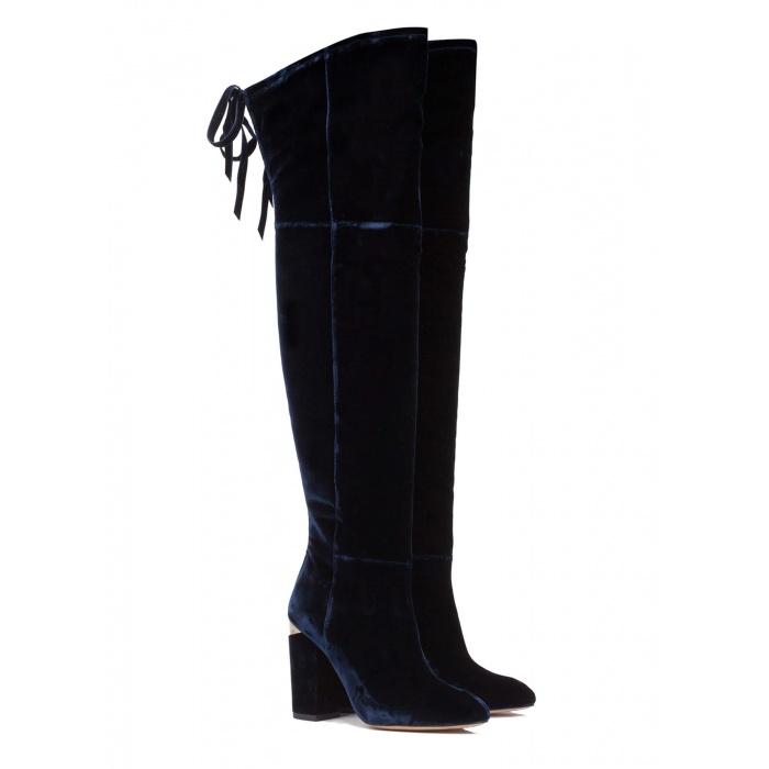 Velvet over-the-knee heeled boots - online shoe store Pura Lopez