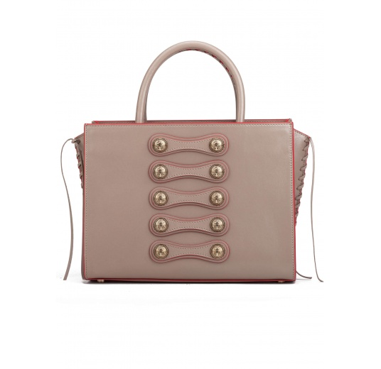 Button detailed bag in taupe leather Pura L�pez