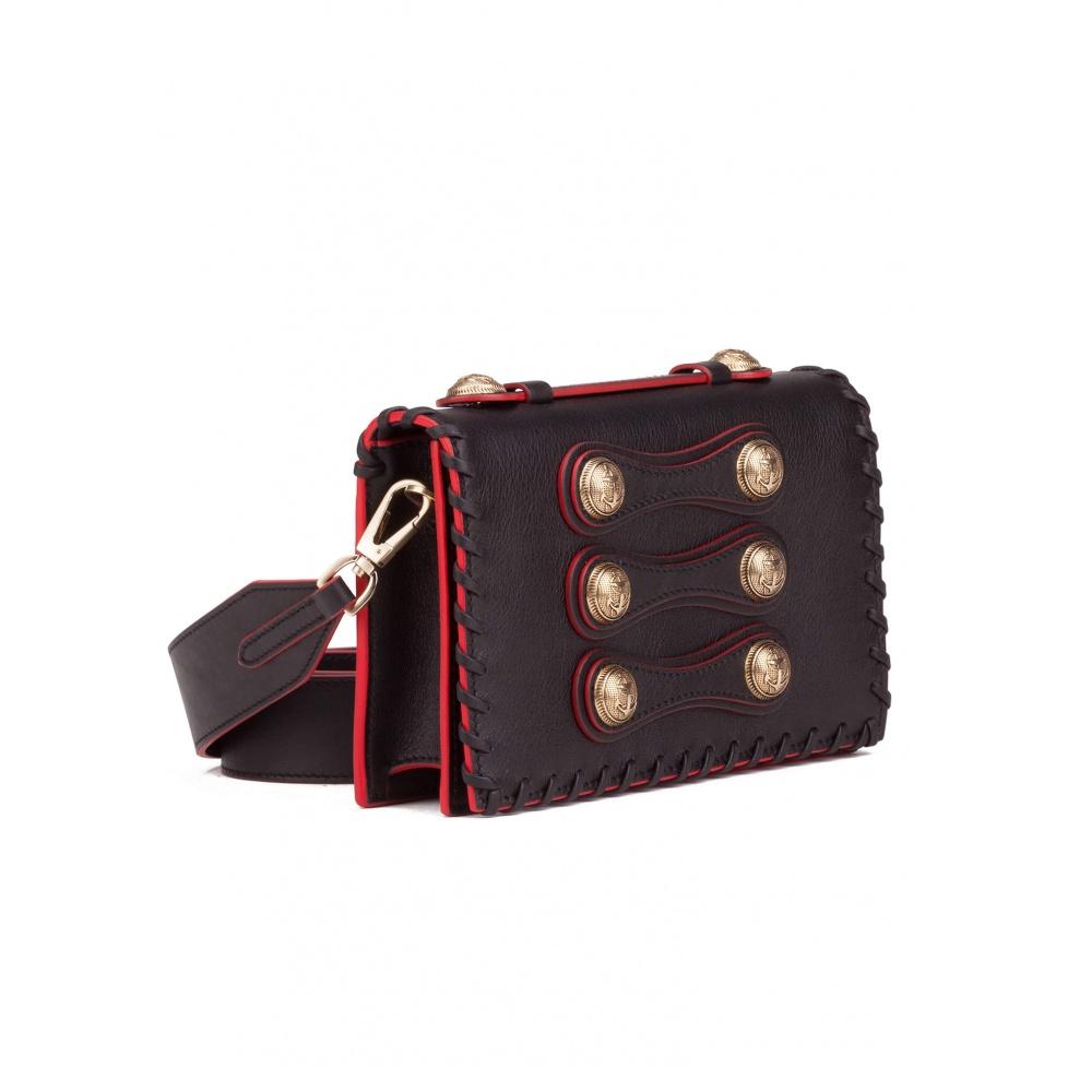 Black button detailed shoulder bag - Official Store Pura Lopez