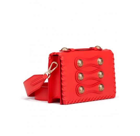 Button detailed mini bag in red leather Pura L�pez