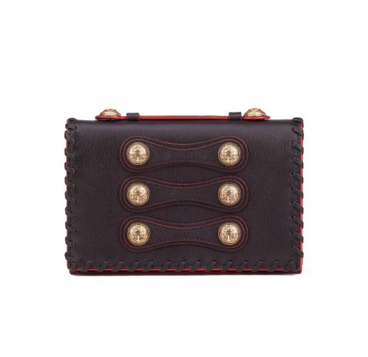 Button detailed mini bag in black leather Pura L�pez
