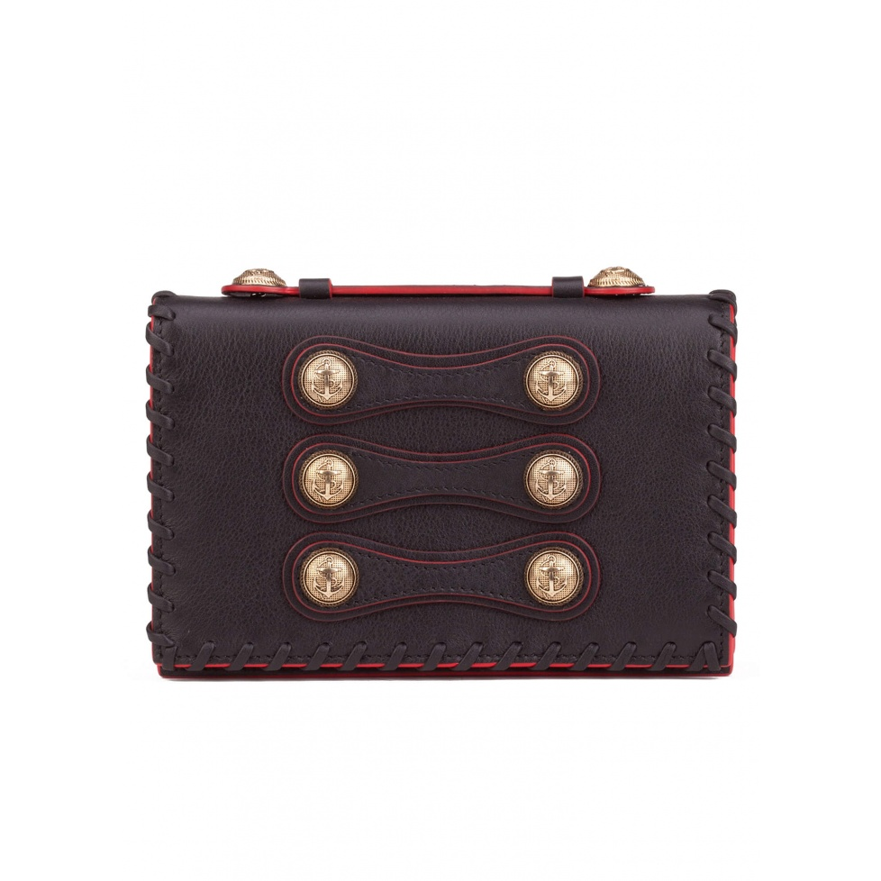 Button detailed mini bag in black leather