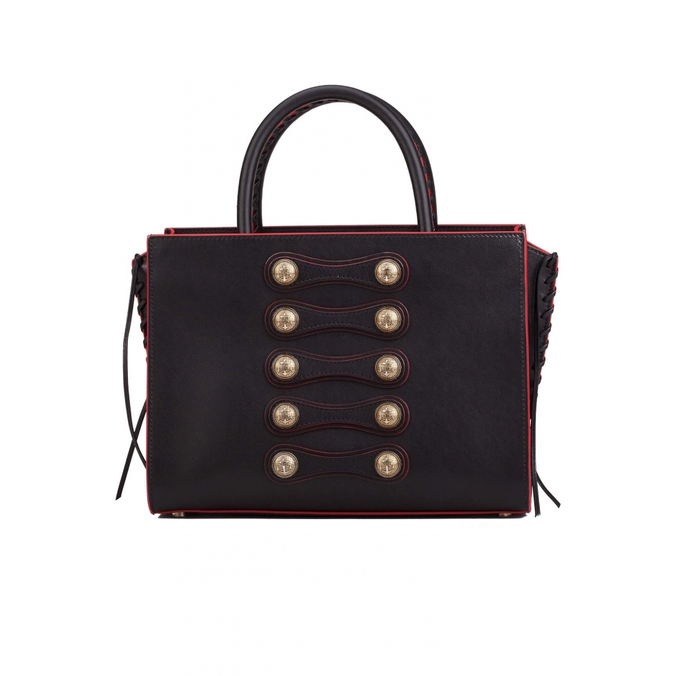 Button detailed bag in black leather