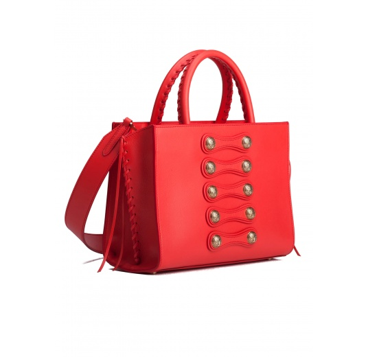 Button detailed bag in red leather Pura L�pez
