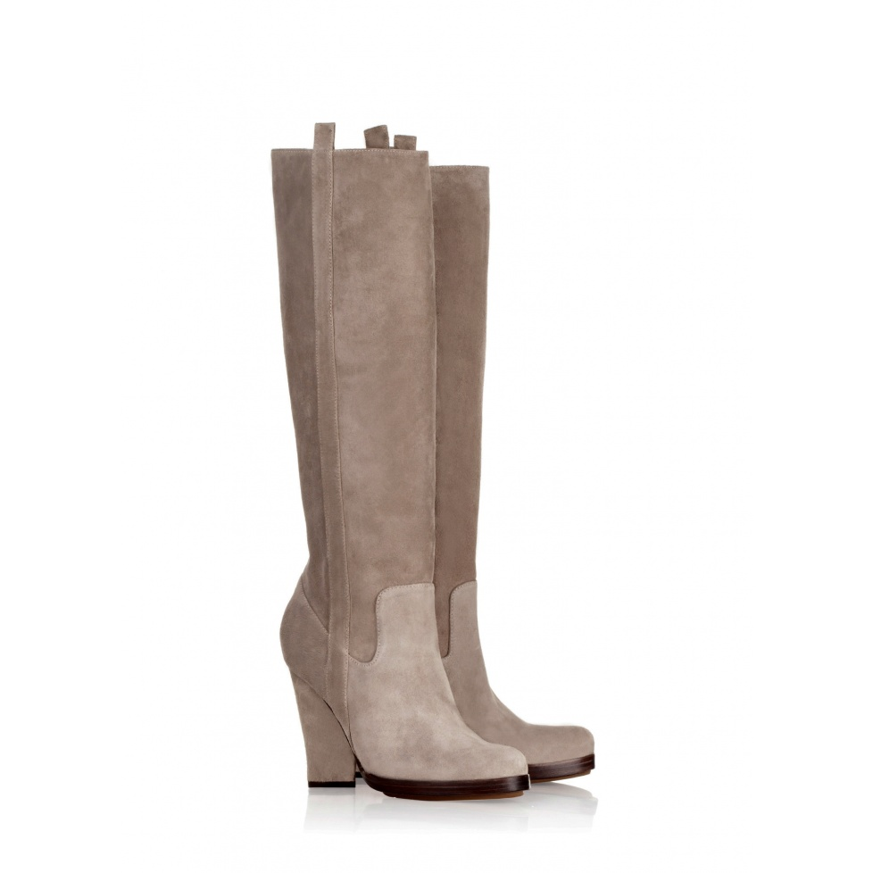 Pura Lopez high heel boots in stone suede
