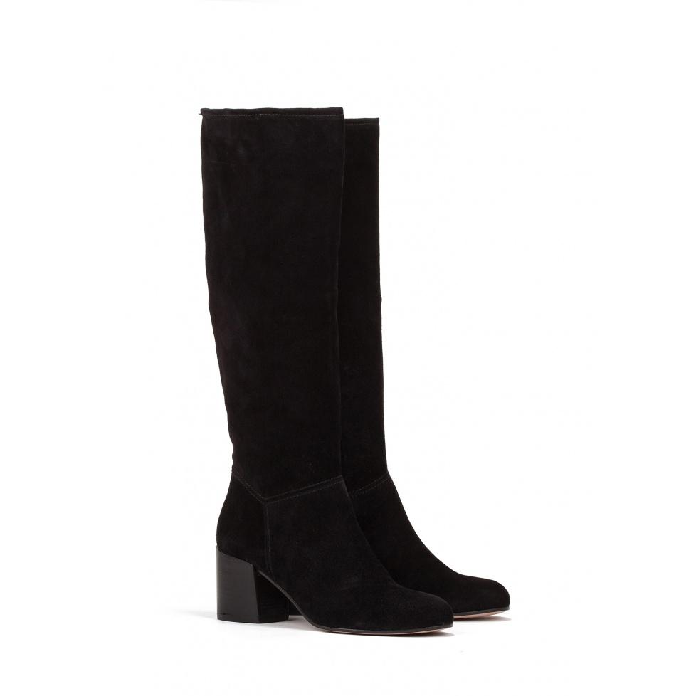 Mid heel boots in black suede - online shoe store Pura Lopez