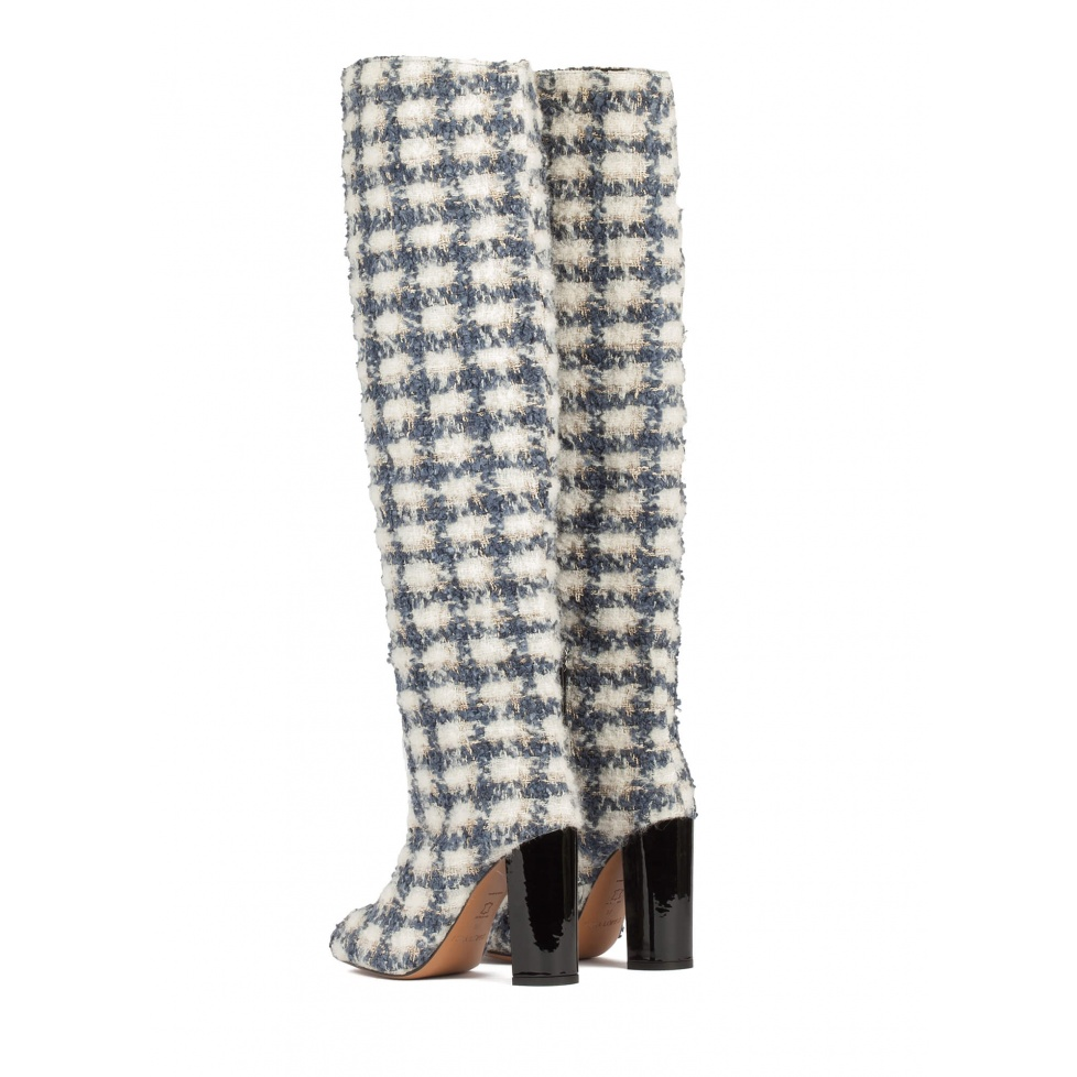 Checked fabric slouchy knee-high block heel boots