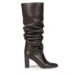 Over-the-knee block heel pointed toe boots in black leather Pura López