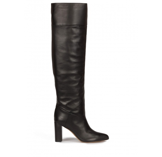Over-the-knee block heel pointed toe boots in black leather Pura L�pez