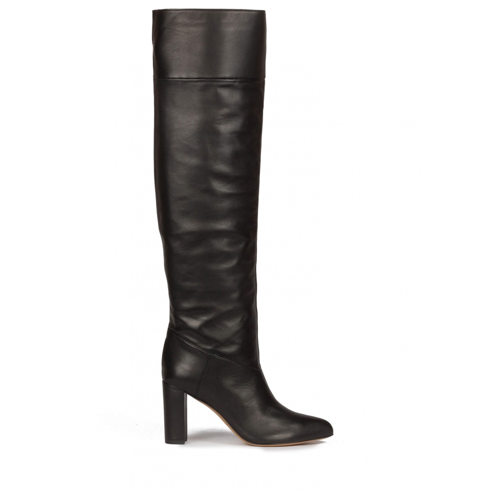 Over-the-knee block heel pointed toe boots in black leather