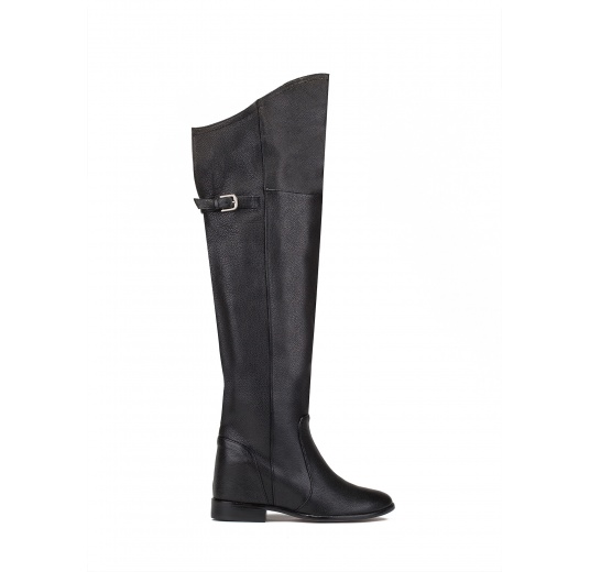 Over the knee boots in black leather Pura L�pez