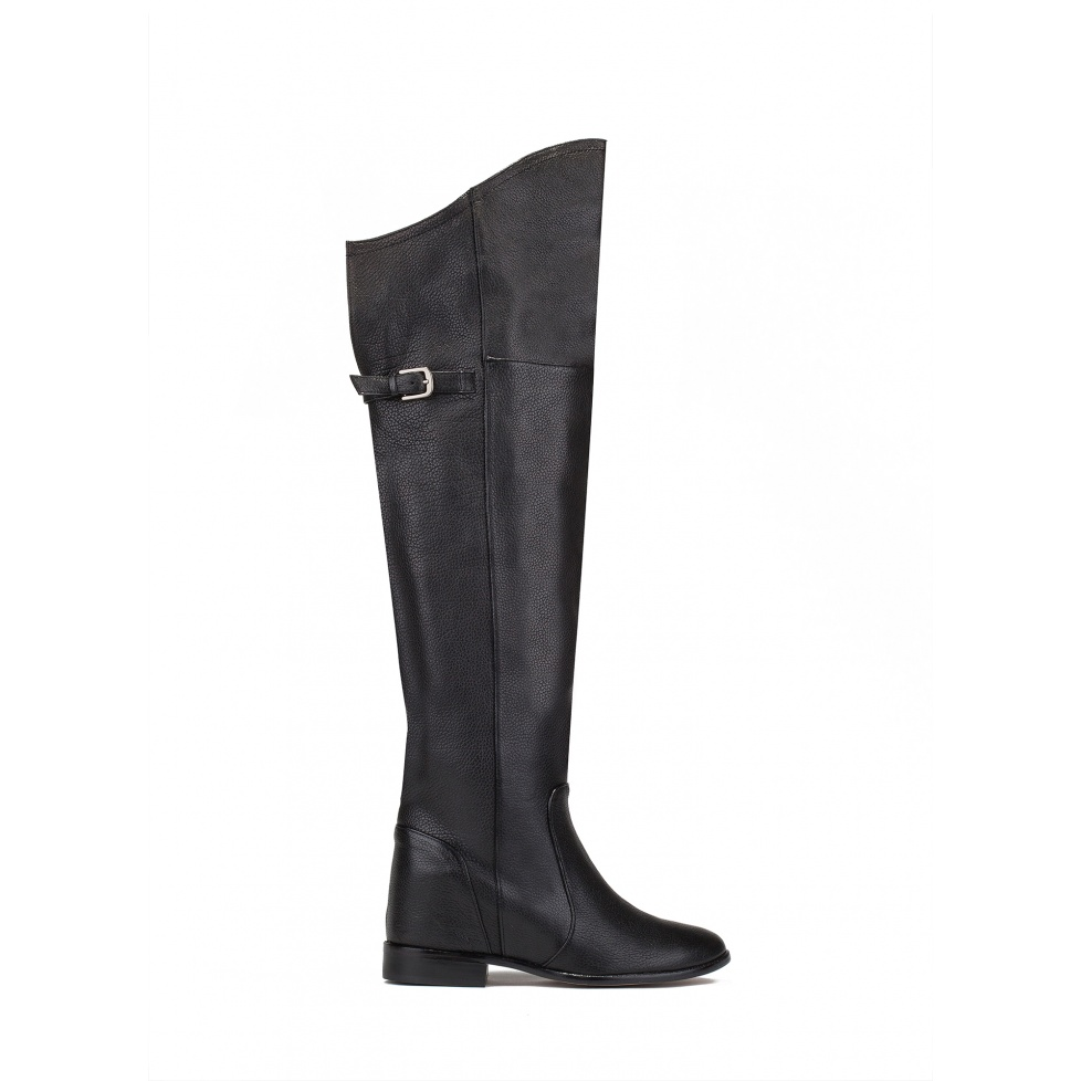 Over the knee boots in black leather