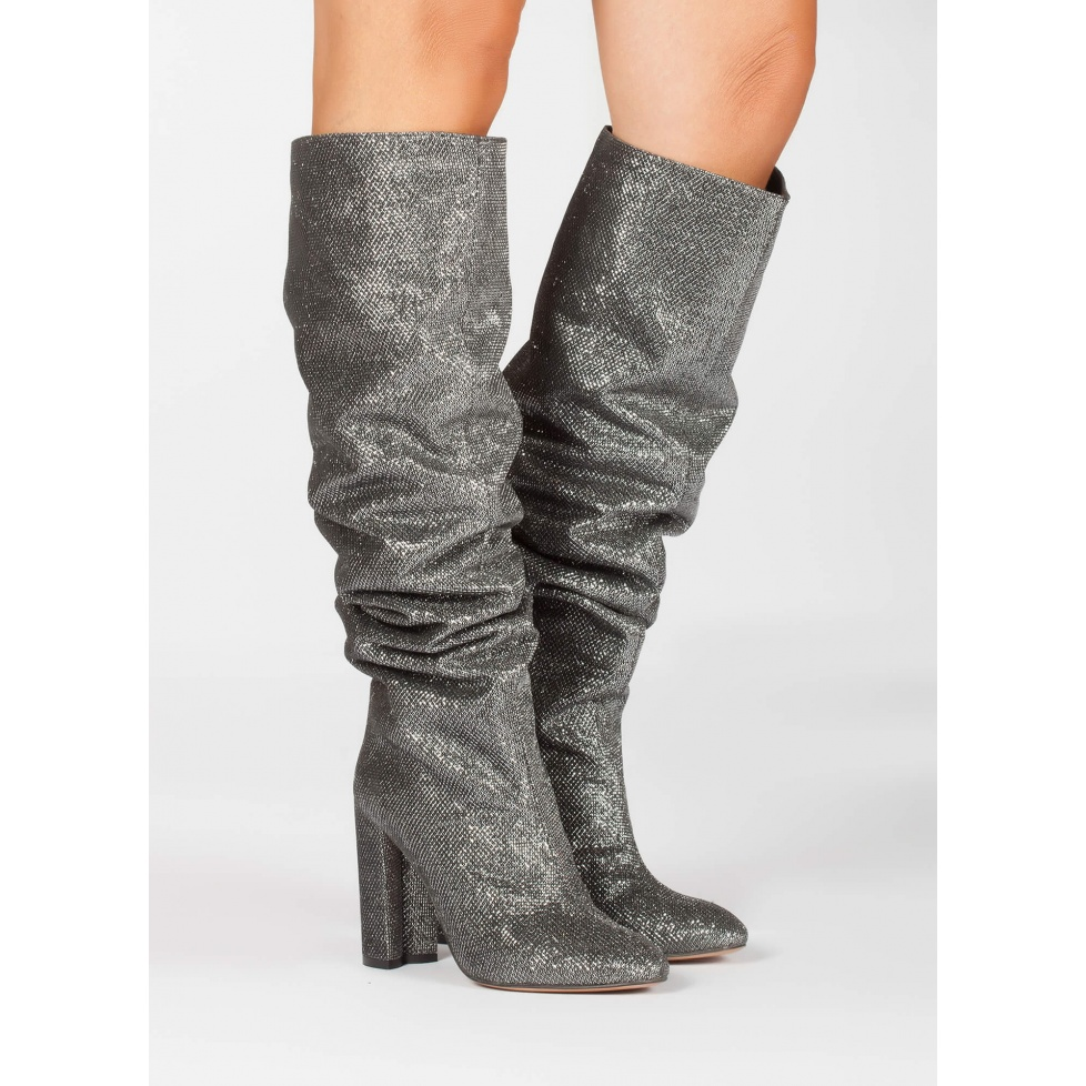Silver high block heel slouchy boots