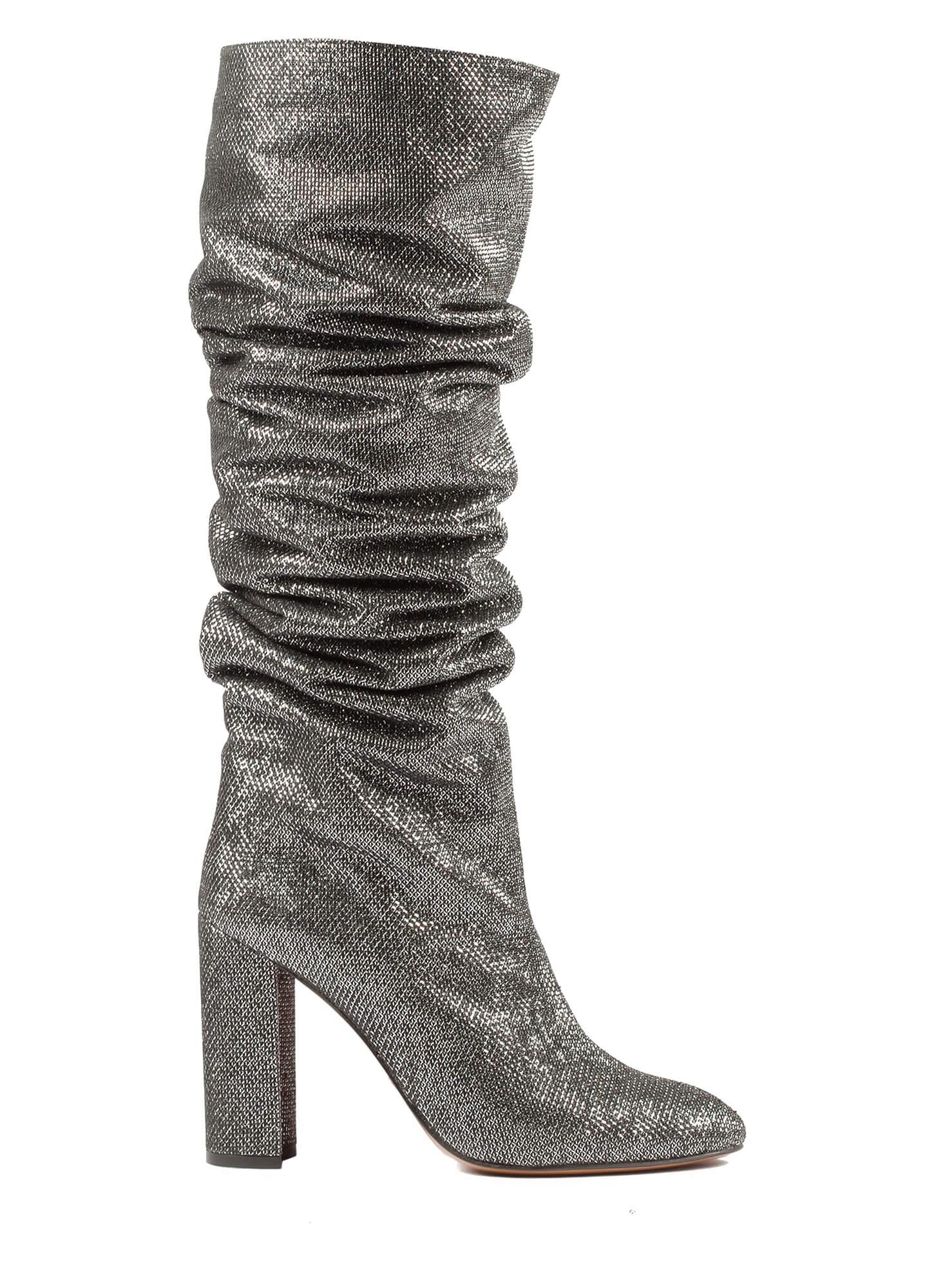 Silver high block heel slouchy boots . PURA LOPEZ