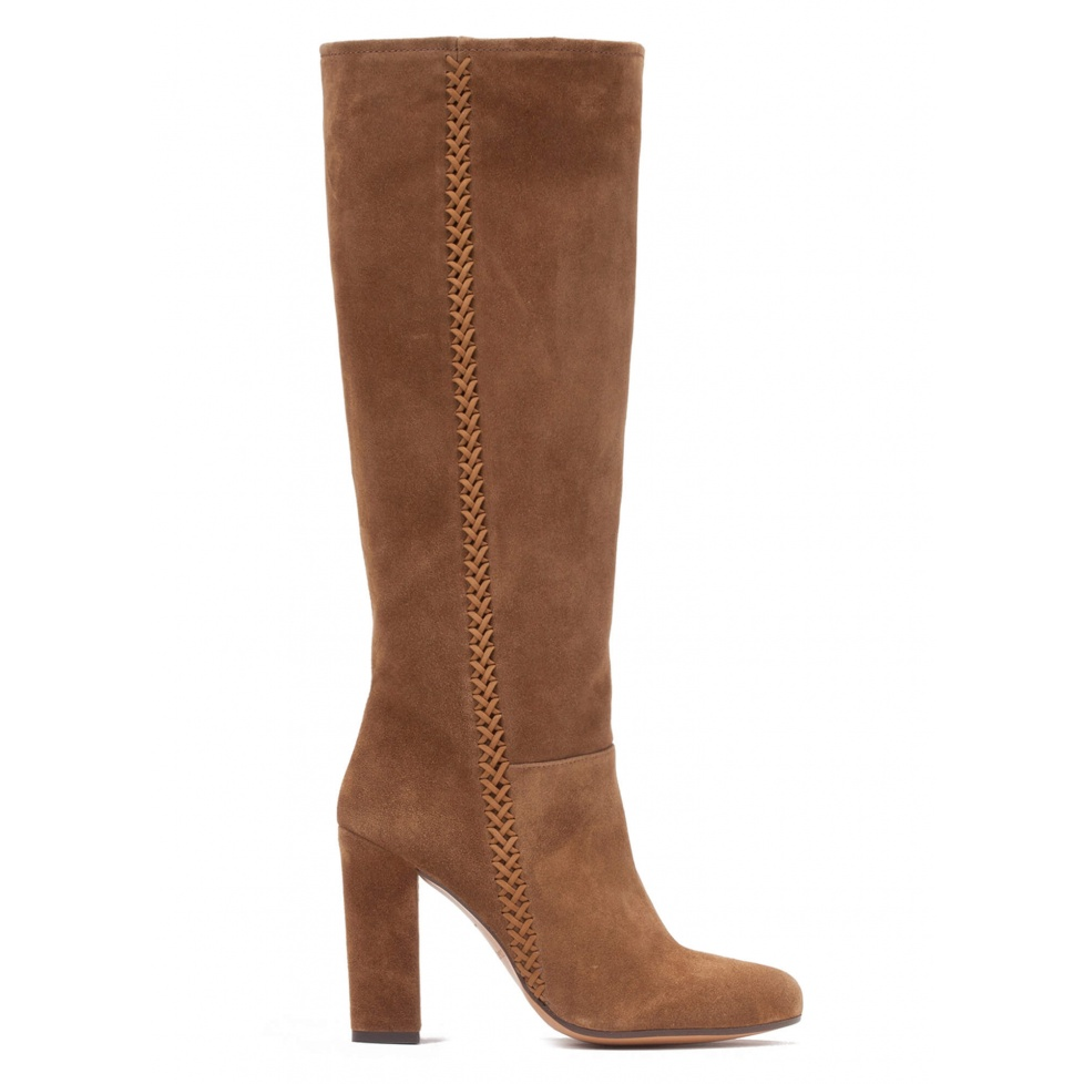 High block heel boots in brown suede