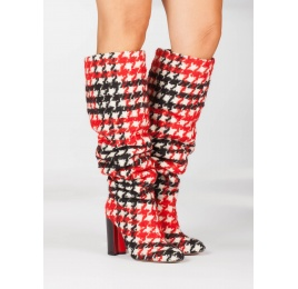 Slouchy knee-high block heel boots in houndstooth fabric Pura López