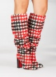 Houndstooth high block heel slouchy boots