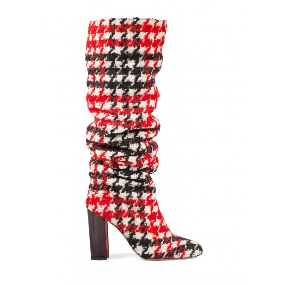 Slouchy knee-high block heel boots in houndstooth fabric