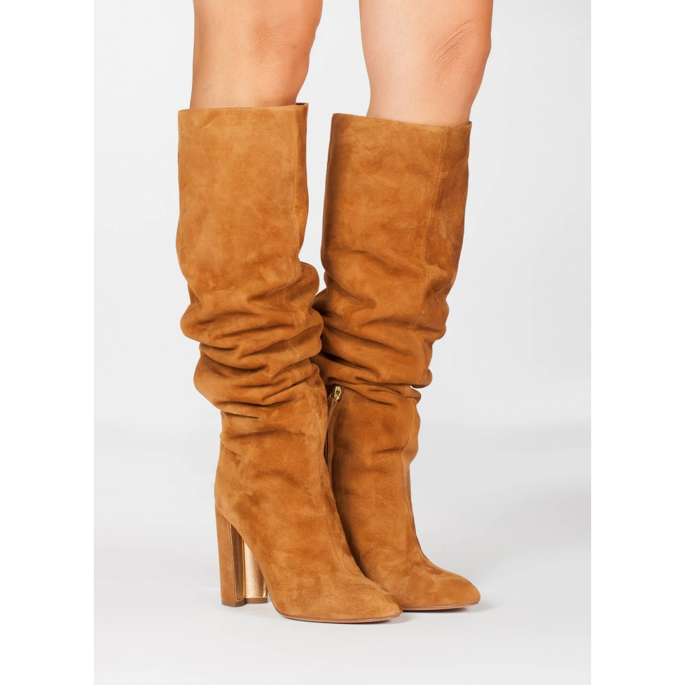 Slouchy knee-high block heel boots in camel suede