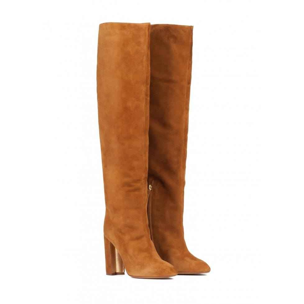 Camel suede wide high heel slouchy boots