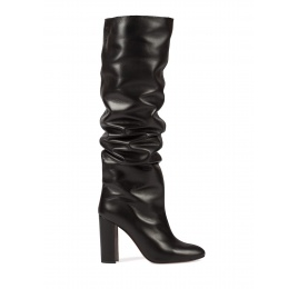 Black leather slouchy knee-high block heel boots Pura López