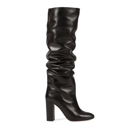 Black leather slouchy knee-high block heel boots Pura L�pez