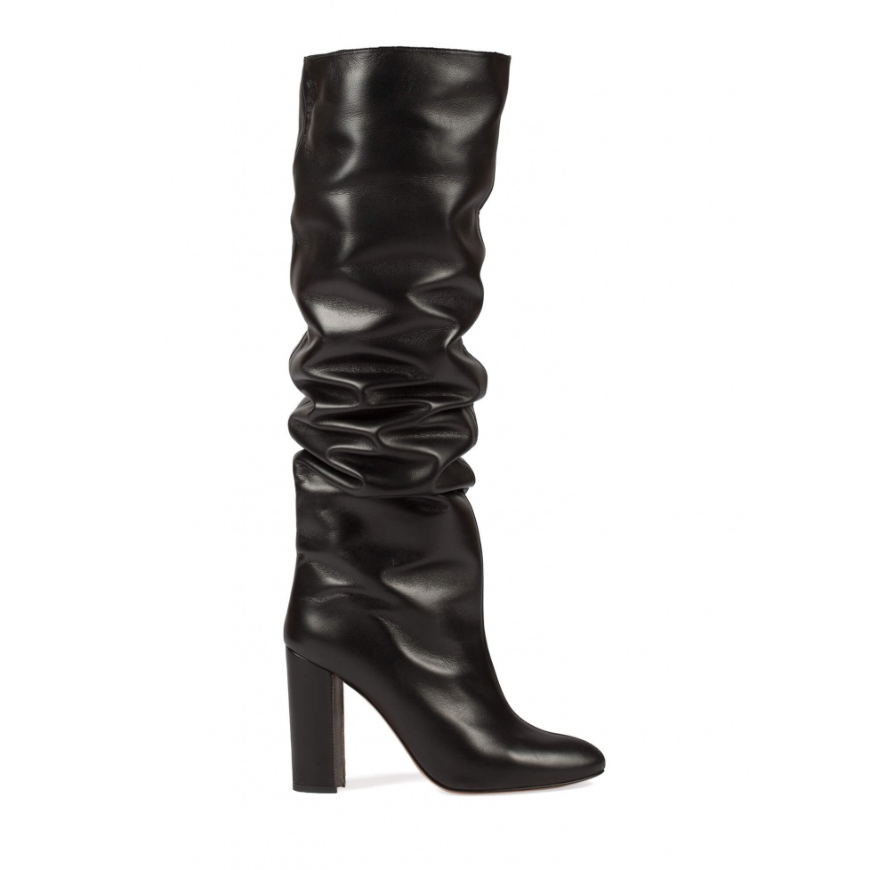 Black leather slouchy knee-high block heel boots