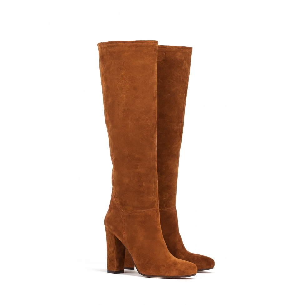 Botas de tacón alto en serraje cuero - tienda de zapatos Pura López