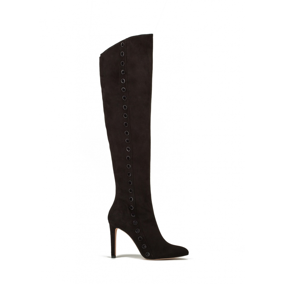 High heel boots in black suede
