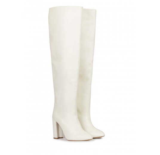 Off-white nappa slouchy knee-high block heel boots Pura L�pez