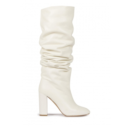 Off-white nappa slouchy knee-high block heel boots Pura López