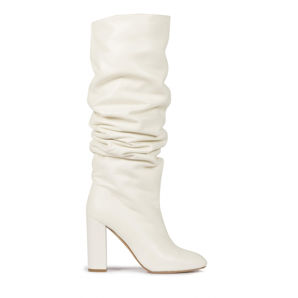 Off-white nappa slouchy knee-high block heel boots