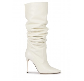 High-knee high heel point-toe boots in off-white nappa Pura López