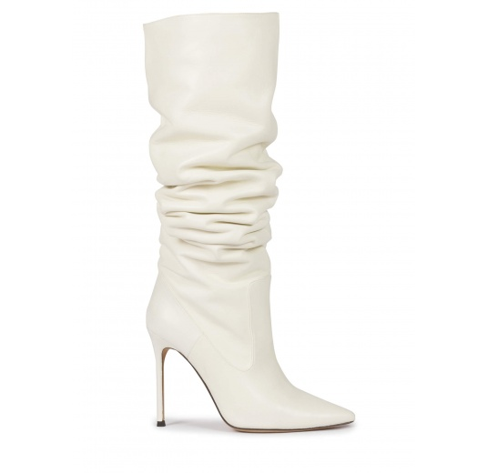 High-knee high heel point-toe boots in off-white nappa Pura L�pez