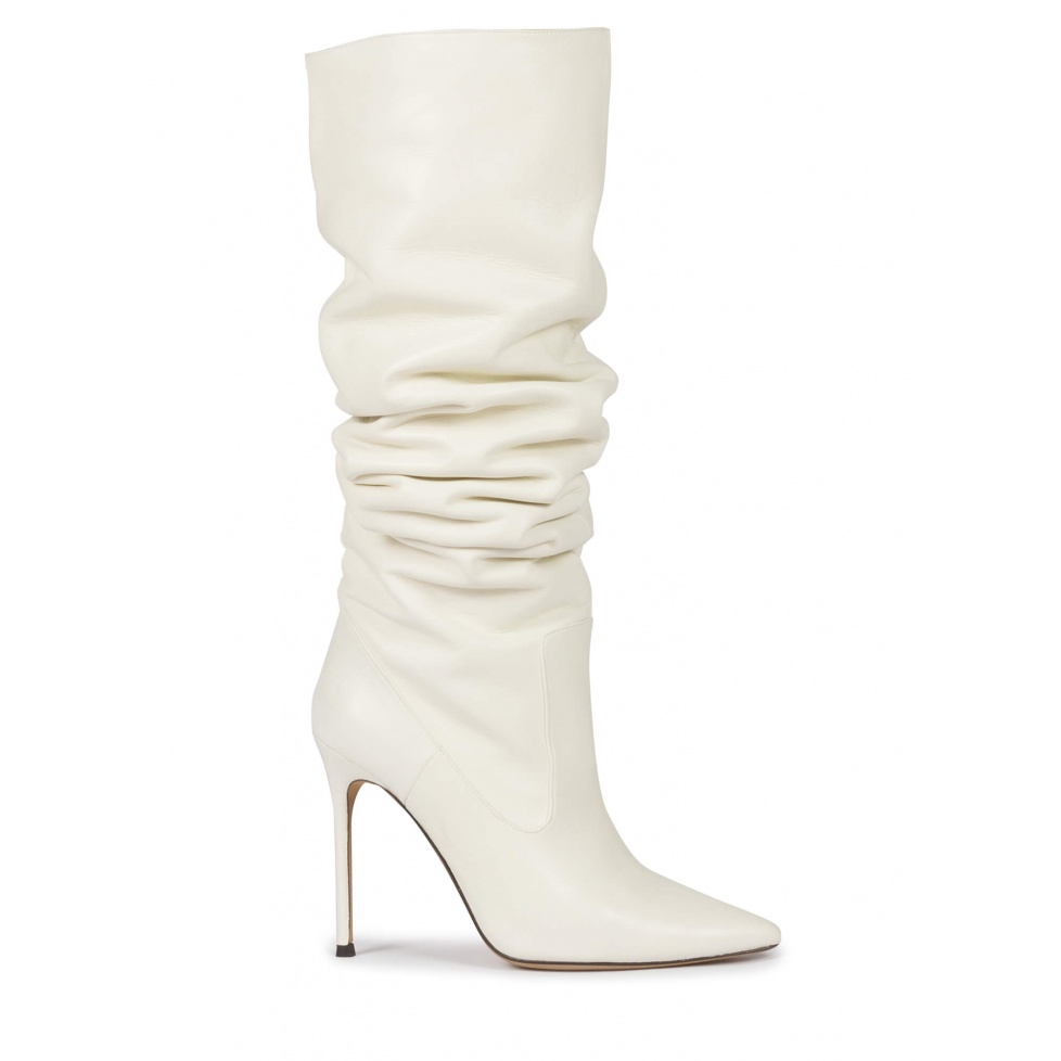 High-knee high heel point-toe boots in off-white nappa