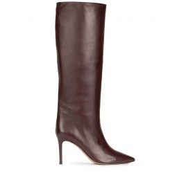 High heel boots in burgundy leather Pura López