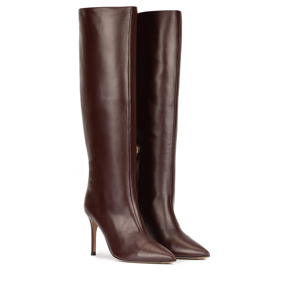 High heel boots in burgundy leather