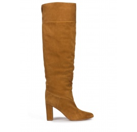 Over-the-knee block heel pointed toe boots in camel suede Pura López