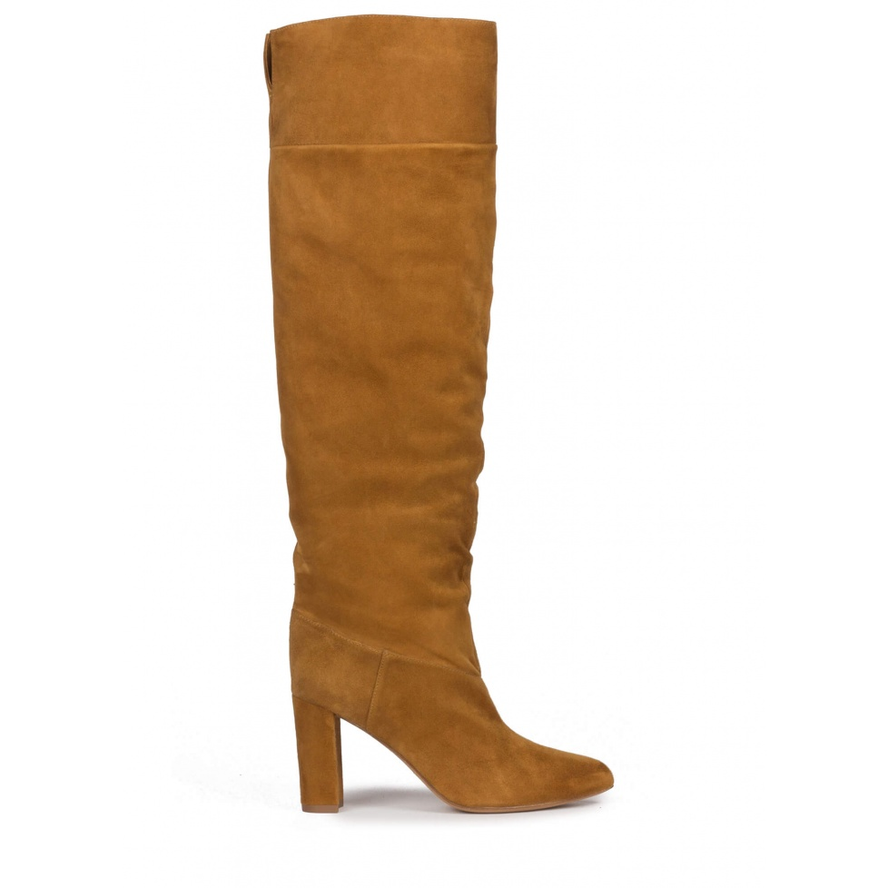 Over-the-knee block heel pointed toe boots in camel suede