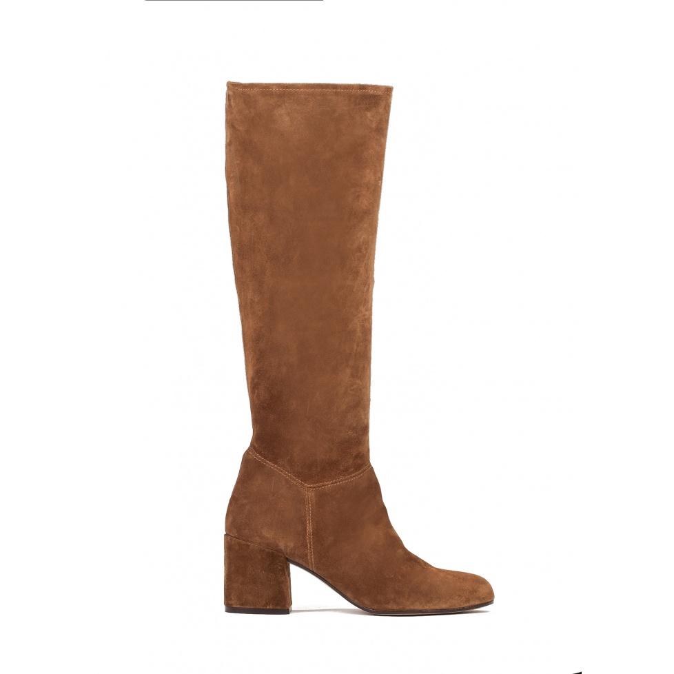 High heel boots in brown suede