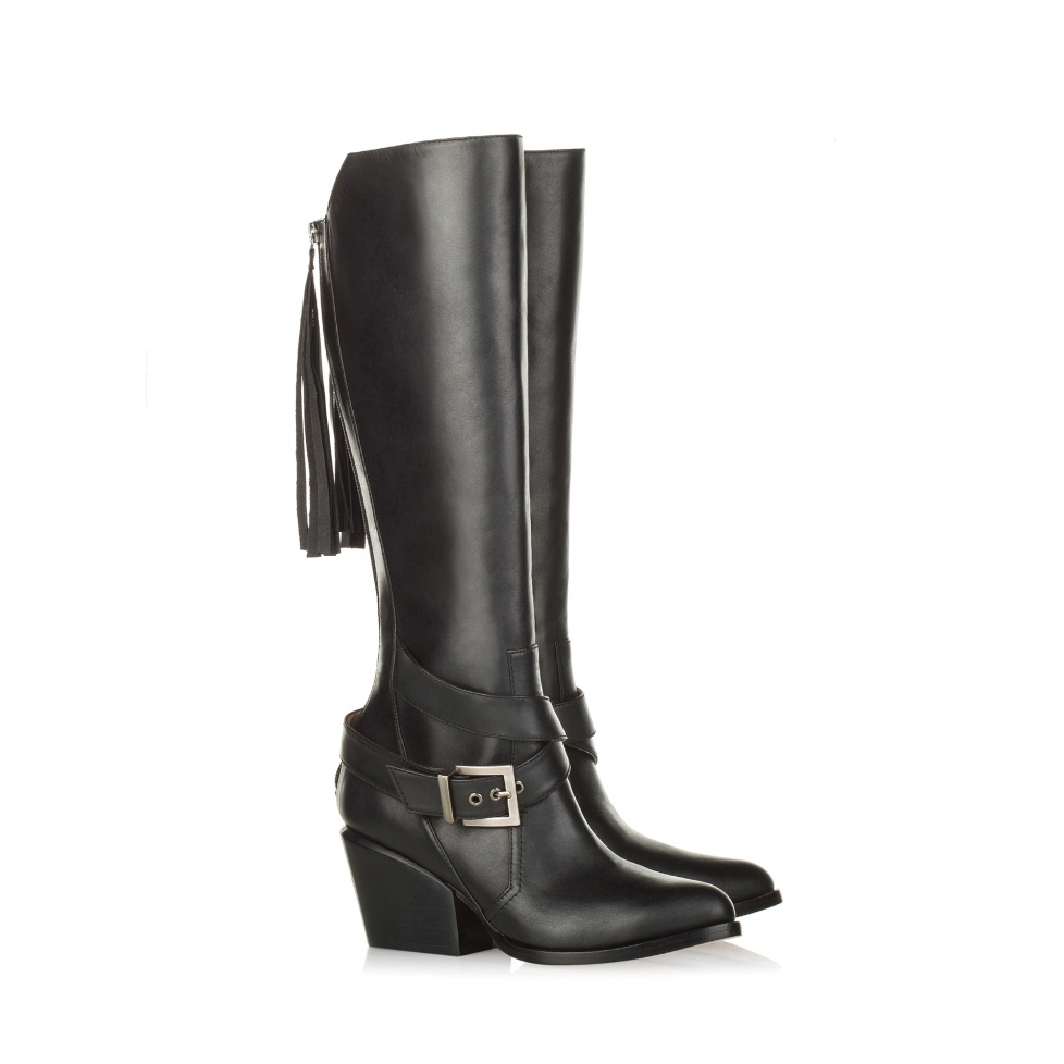 Pura Lopez mid heel boots in black leather