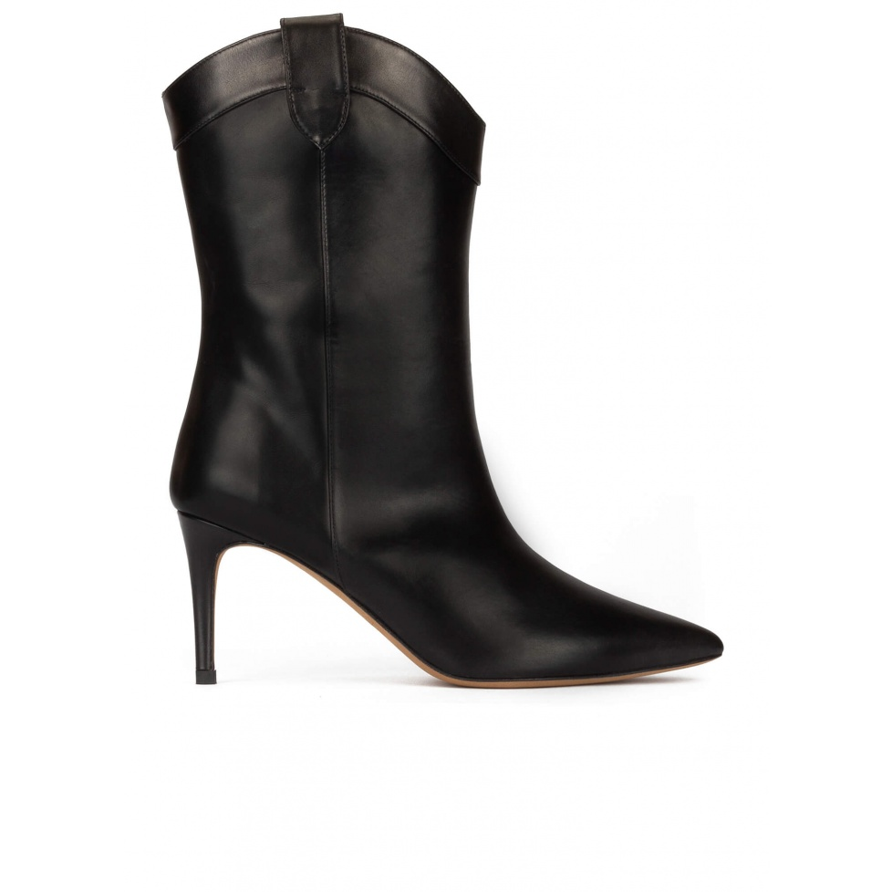 Cowboy mid heel point-toe boots in black leather