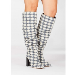 Checked fabric slouchy knee-high block heel boots Pura López