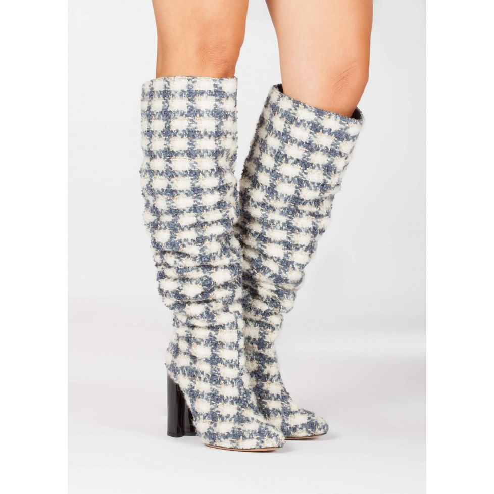 Checked high block heel slouchy boots