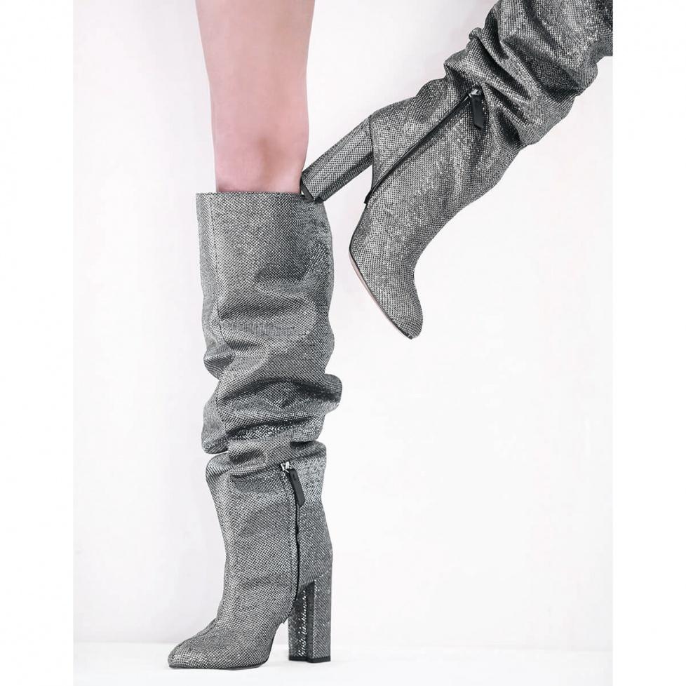 Slouch knee-high block heel boots in metallic fabric