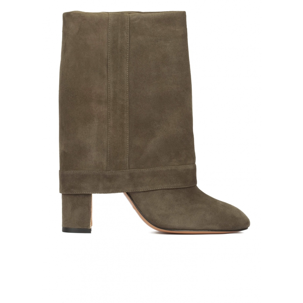 Folded high block heel boots in khaki green suede
